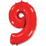Шар (40''/102 см) Цифра, 9, Красный, 1 шт.